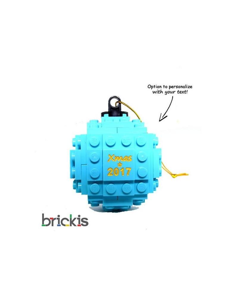 LEGO ® Kerstmis bal gegraveerd 2018 turquoise