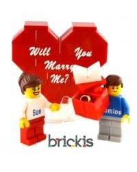 Corazón LEGO® personalizado, grabado con tu texto (¿Te gustaría casarte conmigo ?