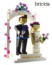 LEGO® Miniland bruidstaart topper huwelijk, gegraveerd gepersonaliseerd