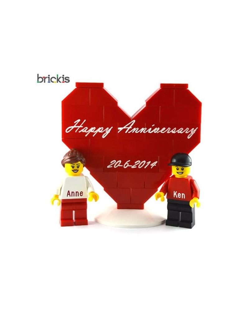 Corazón LEGO® personalizado + 2 minifiguras Jubileo