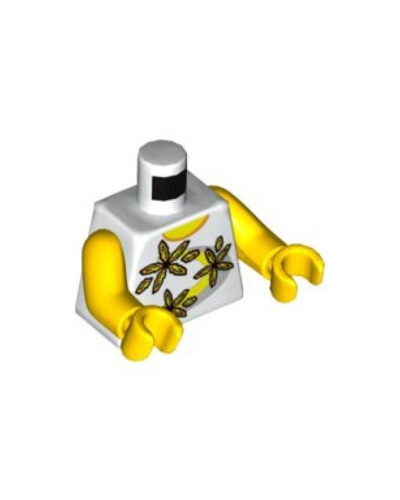 LEGO bovenlichaam in wit, shirt met 3 bloemen