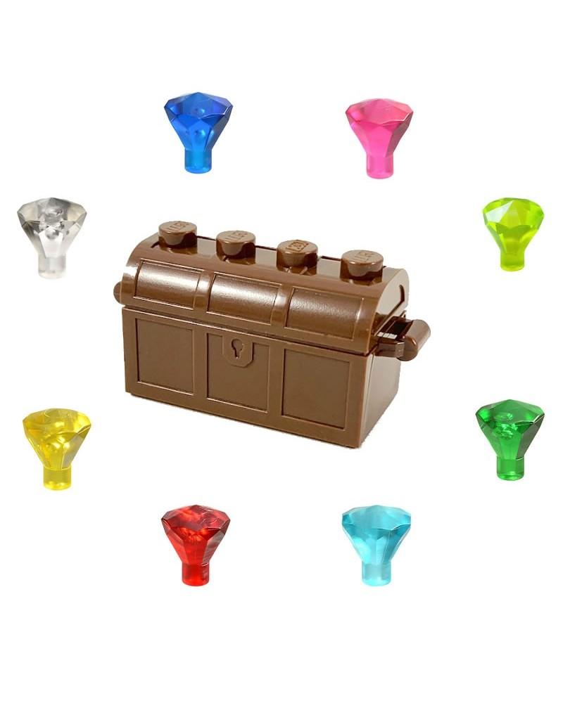 Cofre del tesoro LEGO® + 8 diamantes joya para piratas
