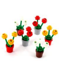 6x pots de fleur LEGO® avec fleurs