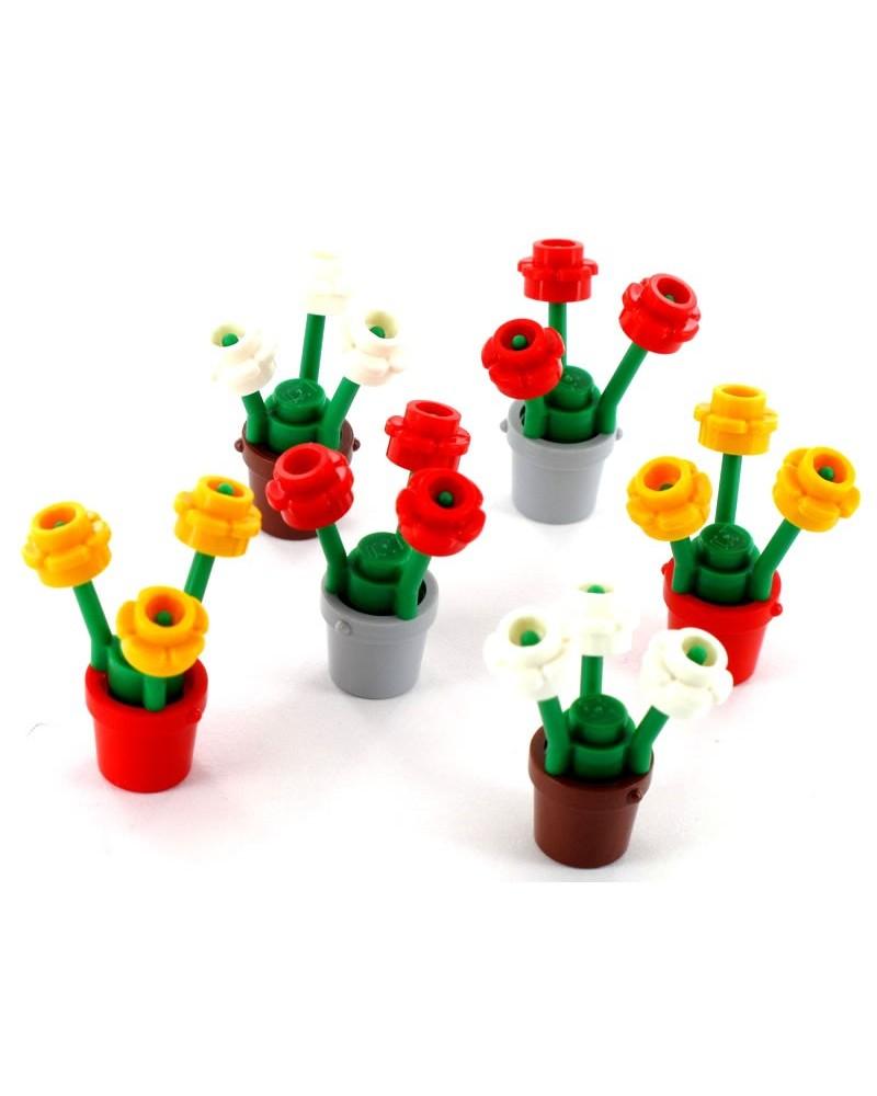 6x LEGO® Blumentopf mit Blumen