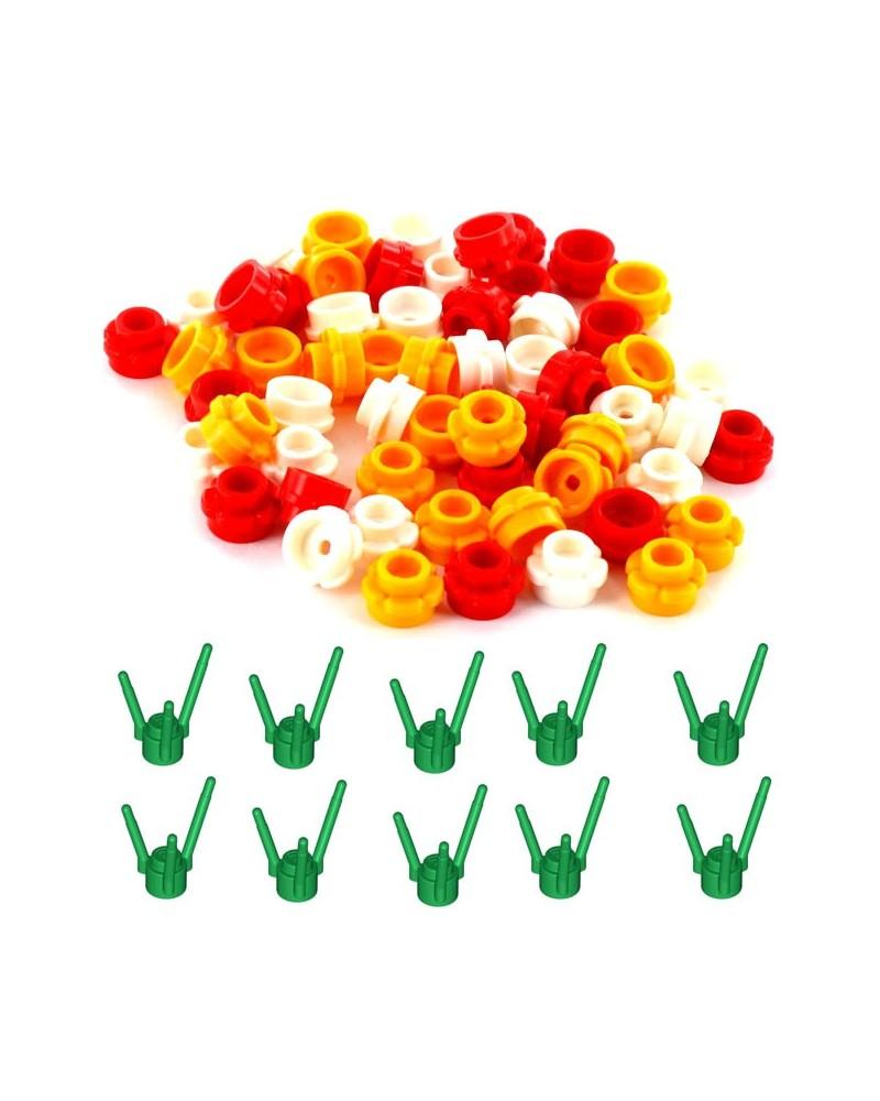 LEGO® 30 fleurs + 10 tiges