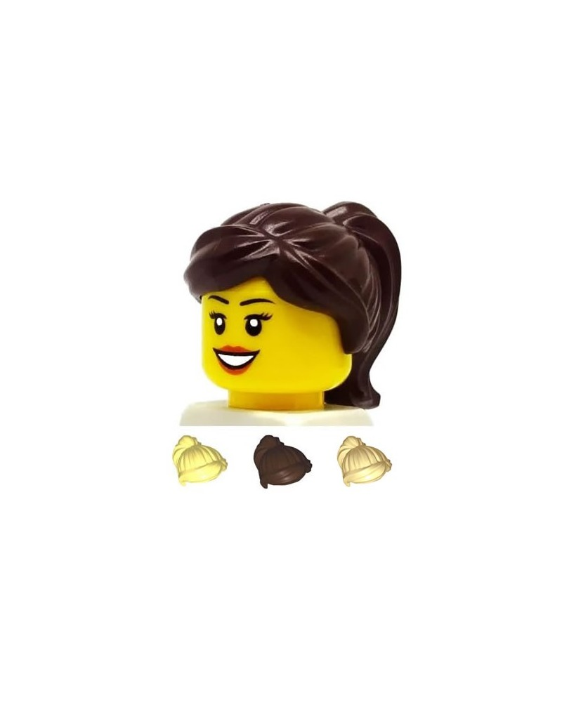 LEGO® minifigures hair girl dark brown bold tan