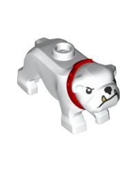 Bouledogue chien blanc LEGO® City avec collier rouge 65388pb01