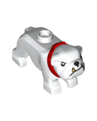 LEGO® city dog bulldog wit met rode halsband