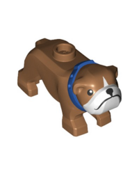 Bouledogue chien marron LEGO® City avec collier bleu 65388pb02