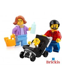 3x LEGO® minifigures mom dad baby pram