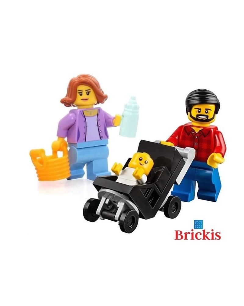 3x LEGO® Minifiguren Mama Papa Babywagen