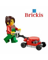 LEGO® minifigures woman mowing the lawn + accessories