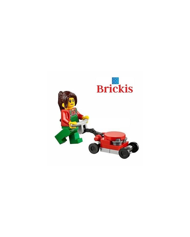 LEGO® Minifigures Femme en trein de tondre la pelouse + accessoires