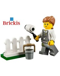 LEGO® minifigures woman painting fence + accessories