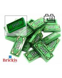10x LEGO® Green monnaie Tile 100 Dollar billets de banque en espèces LEGO City