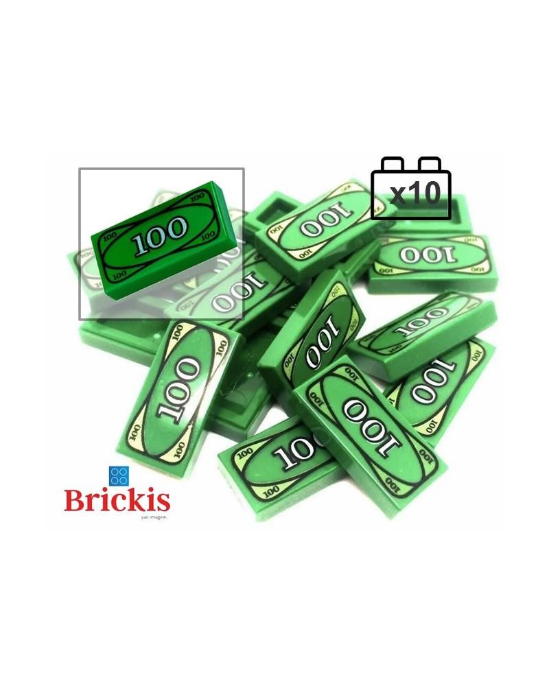 10x LEGO® Green Money Tile 100 Dollar Bill Bank Cash LEGO City
