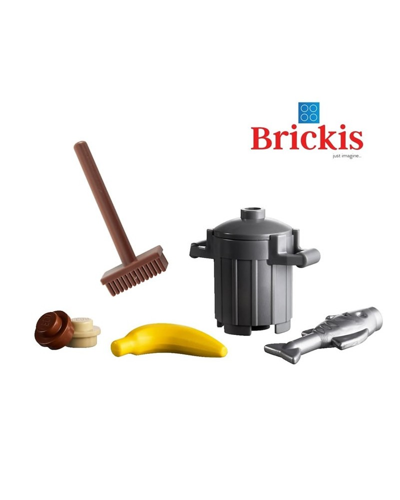 LEGO® mini set trash can with fish banana broom