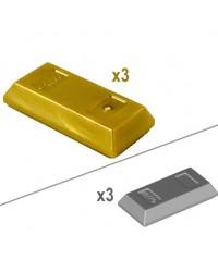 3x LEGO® GOLD or SILVER ingot bar