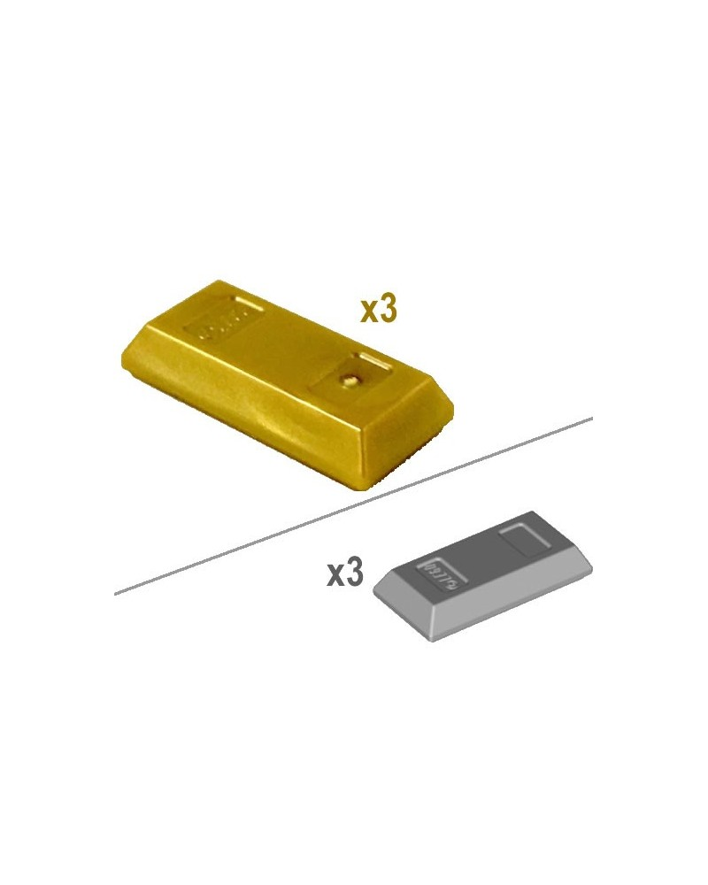 3x LEGO® GOUD of ZILVER staaf