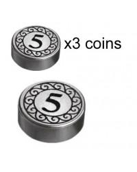 LEGO® 3x Silver coins 5 Dollar money