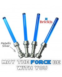 4 LEGO® LIGHTSABER Star Wars Metallic Silver handvat Trans Dark Blue
