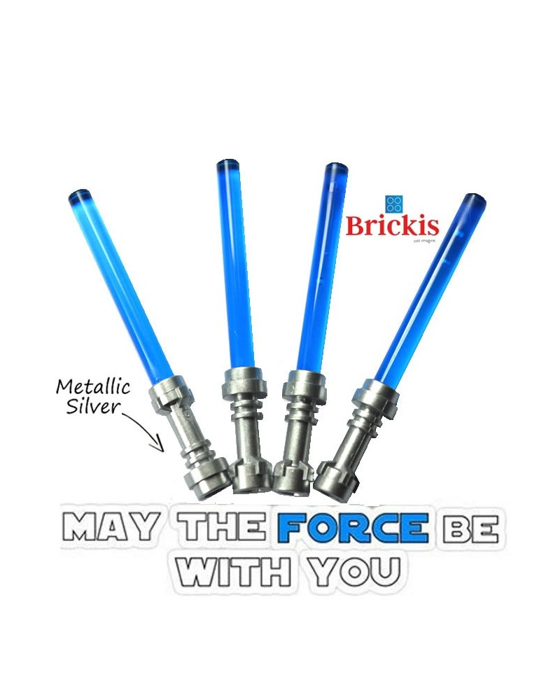4 LEGO® LIGHTSABER Star Wars Metallic Silver Griff Trans Dark Blue