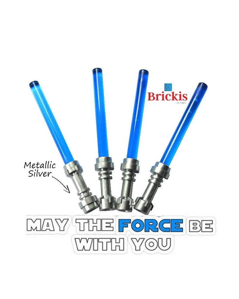 4 LEGO® LIGHTSABER Star Wars Metallic Silver Hilt Trans Dark Blue