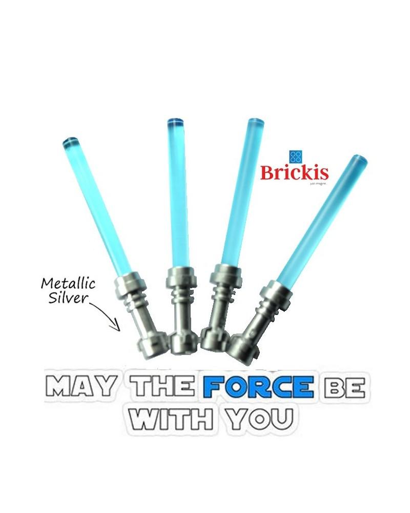 4 LEGO® LIGHTSABER Star Wars Metallic Silver handvat Trans Light Blue