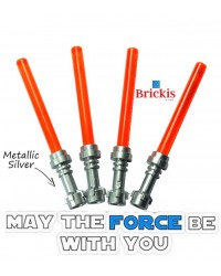 4 LEGO® LIGHTSABER Star Wars Metallic Silver Griff Trans Orange