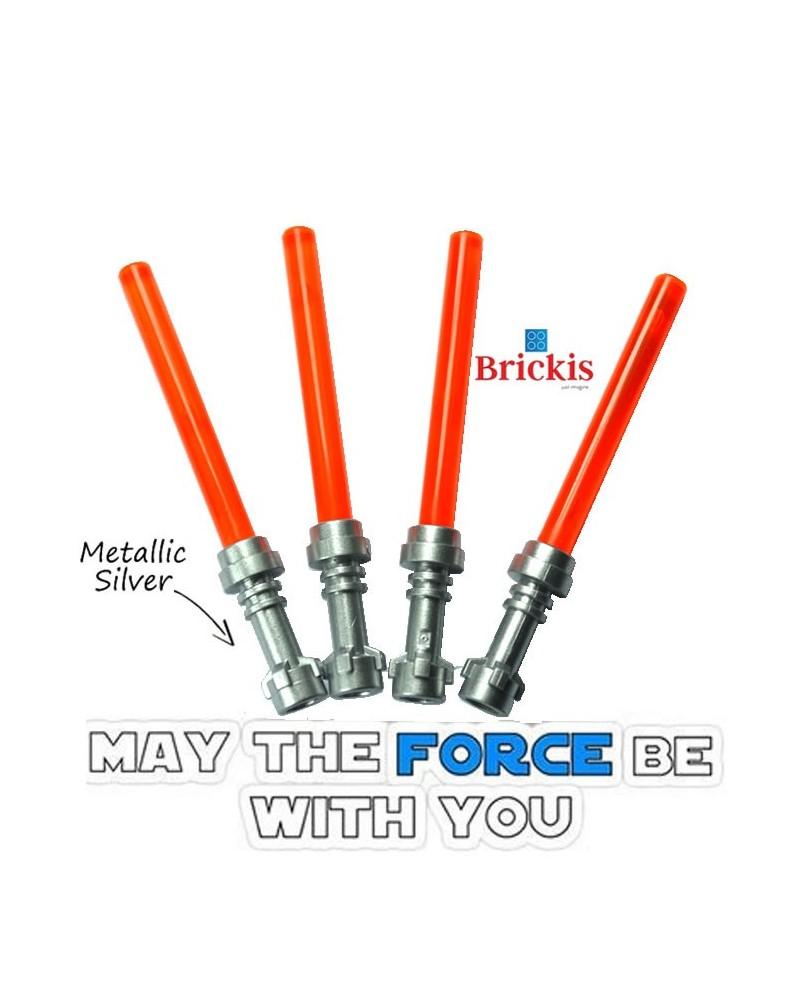 4 LEGO® LIGHTSABER Star Wars Metallic Silver Griff Trans Orange