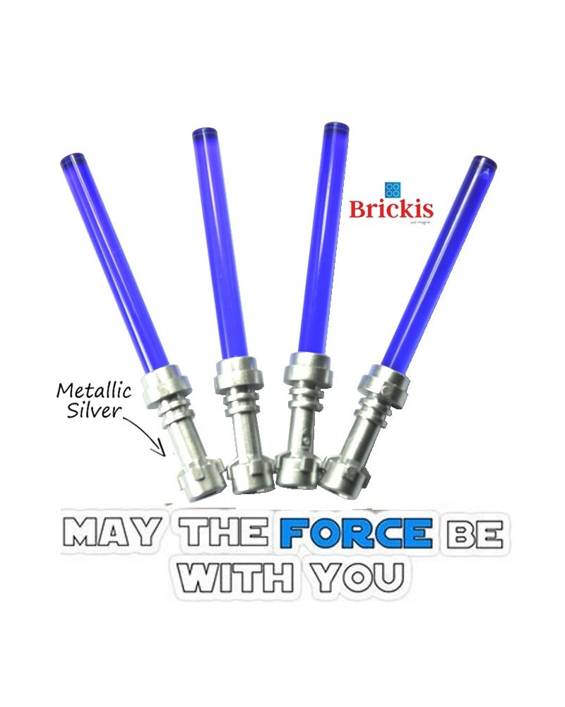 4 LEGO® LIGHTSABER Star Wars Metallic Silver Hilt Trans Purple
