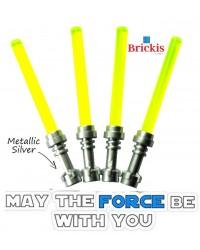 4 LEGO® LIGHTSABER Star Wars Metallic Silver Griff Trans Neon Grün