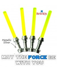 4 LEGO® LIGHTSABER Star Wars poignée Metallic Silver Trans Neon Vert