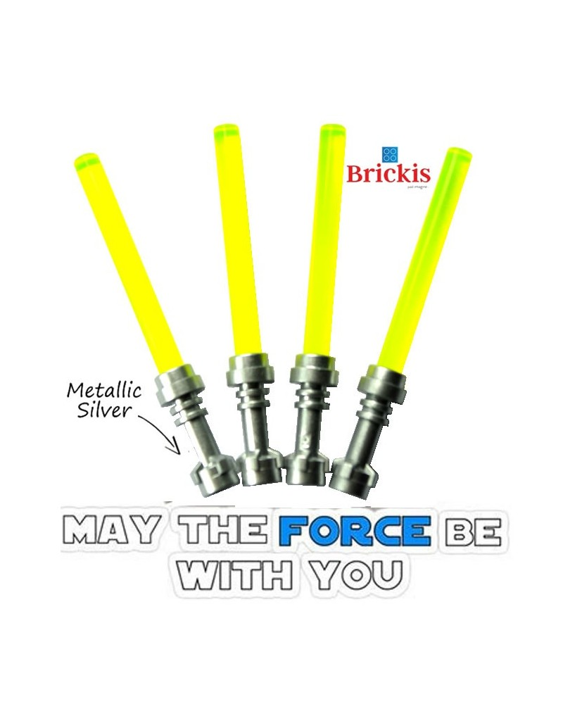 4 LEGO® LIGHTSABER Star Wars Metallic Silver handvat Trans Neon Groen