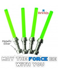 4 LEGO® LIGHTSABER Star Wars Metallic Silver Hilt Trans Bright Green