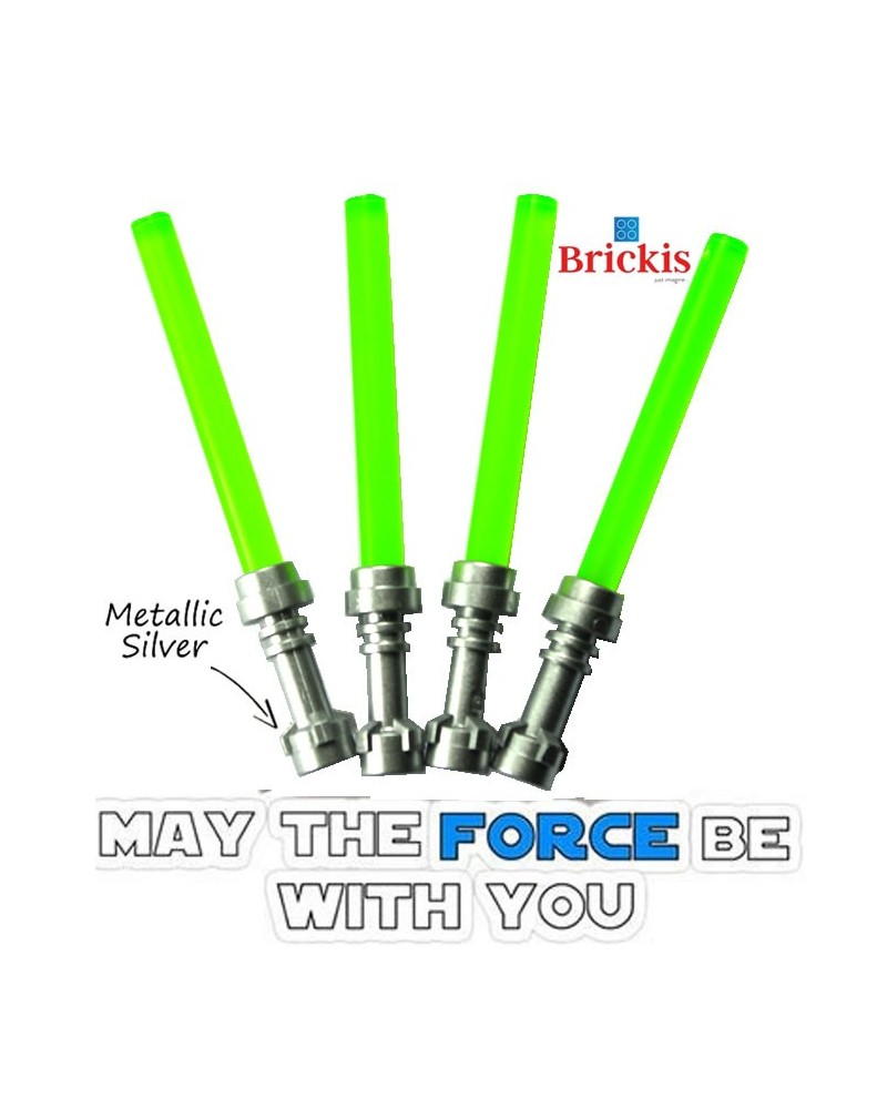 4 LEGO® LIGHTSABER Star Wars Metallic Silver handvat Trans Bright Groen Green