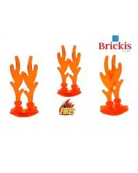 LEGO® Set 3 FLAMAS 3cm + Placa base redonda trans naranja