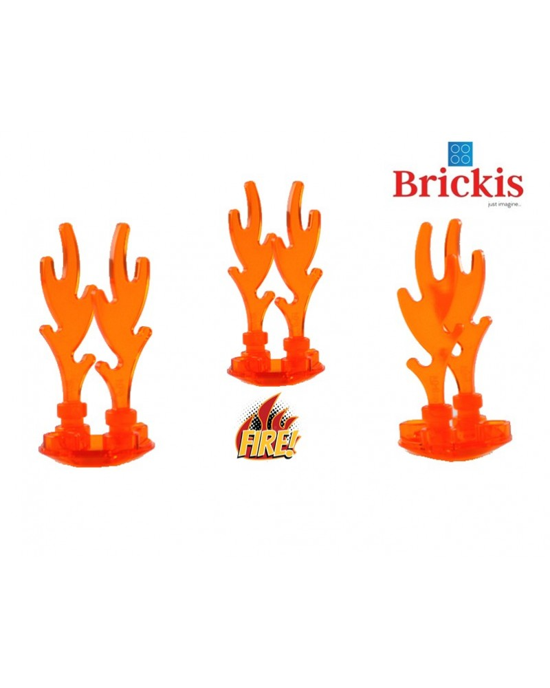 LEGO® Set 3 FLAMES 3cm + Plaque de base ronde trans orange