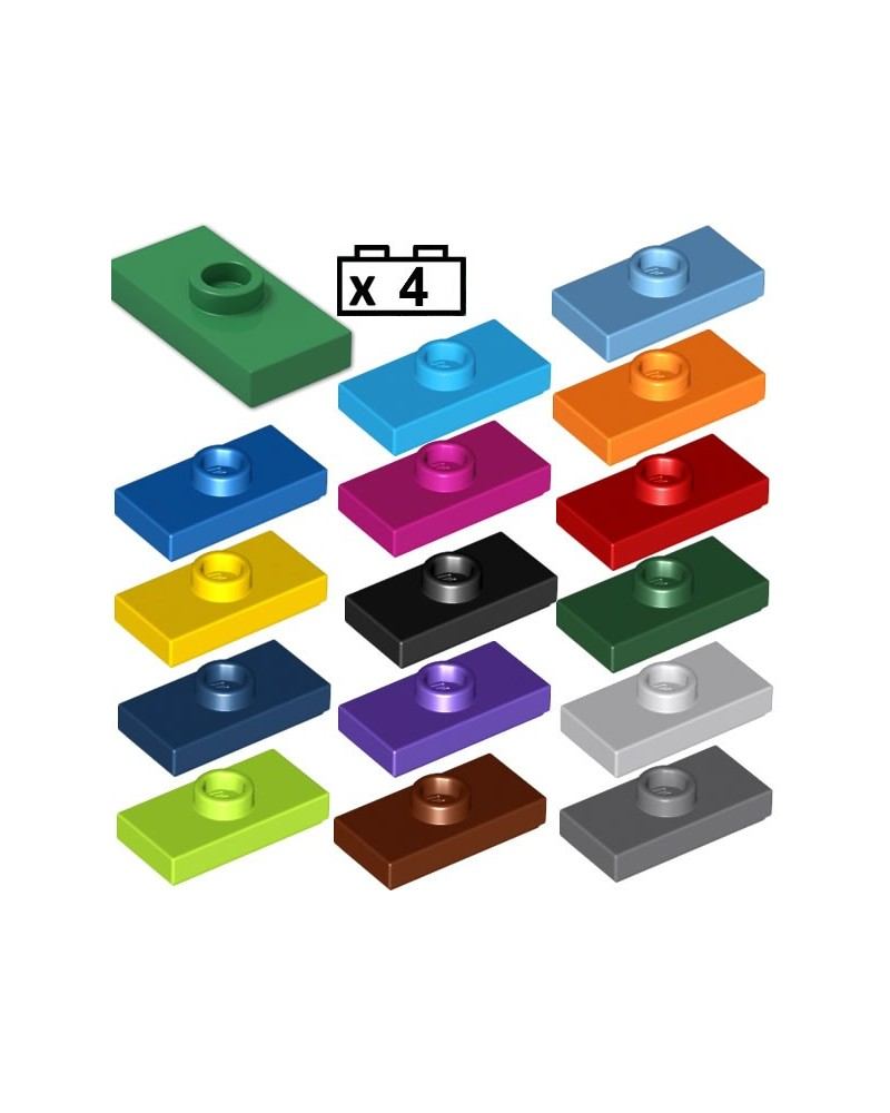 LEGO® 4x Plaat, Modified 1 x 2 met Groove and Bottom Stud Holder (Jumper) 15573