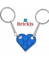 LEGO® Schlüsselanhanger HERZ doppelter Schlüsselbund Blau