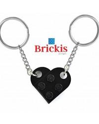 LEGO® dubbele sleutelhanger HART zwart