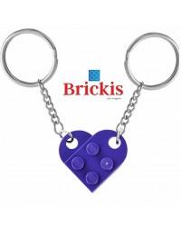 LEGO® dubbele sleutelhanger HART donker paars