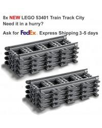 LEGO® 8x Zug Gerade Bahn Rail Railway City Town - 53401 6037688