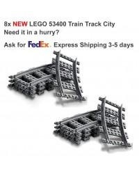 LEGO® 8x Zug Gebogene Bahn Rail Railway City Town - 53400 6037688