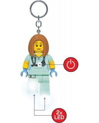 LEGO® Schlüsselanhänger große Minifigur 7,6 cm Ärzt  Krankenschwester helles LED-Licht in beiden Füßen