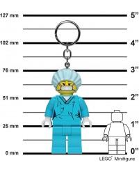 LEGO® Keychain tall minifigure 7,6 cm - 3 inch Surgeon doctor nurse bright LED light in both feet