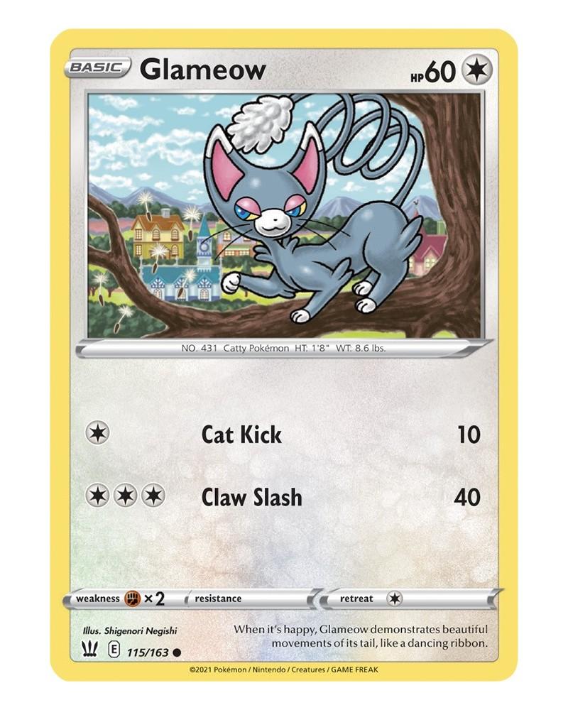Pokémon trading card / kaart Glameow 115/163 Sword & Shield 5 Battle Styles OFFICIAL