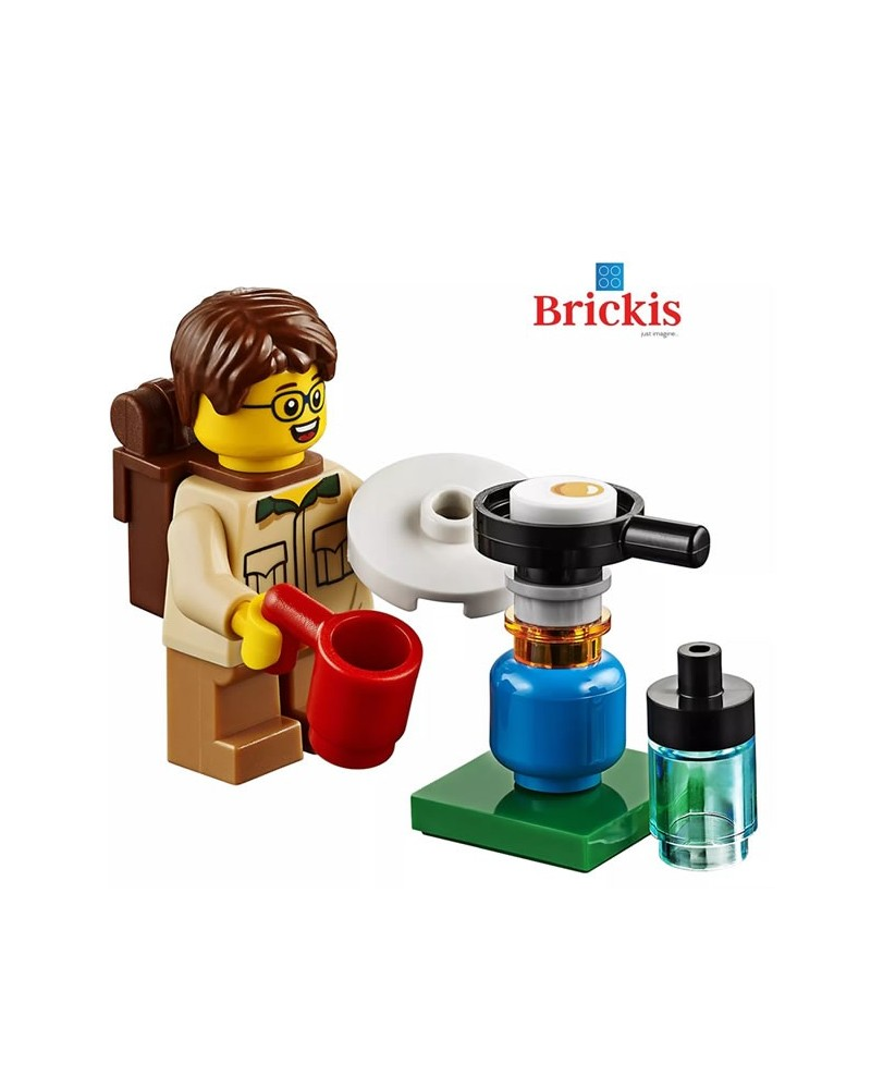 LEGO® minifigure boy Scout at camp with camping burner