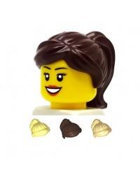 LEGO® minifiguren haar meisje donker bruin blond en tan