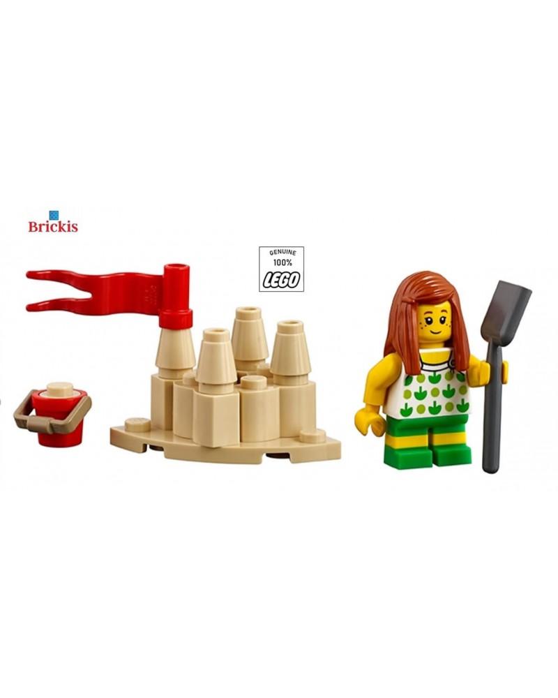 LEGO® Plezier op het Strand Meisje minifiguur met zandkasteel